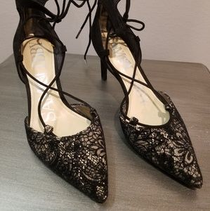 Black and Nude Lace Up Heels